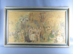 Mason Pintor Grande Vintage Inusual Imagen Pintado En Papel Año 1975