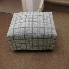 Footstool Small Pouffe Gift Present grey Tartan Chenille Stool British Made