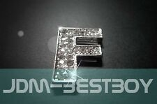Letter F Luxuy Chrome Swarovski Crystal Alphabet badge