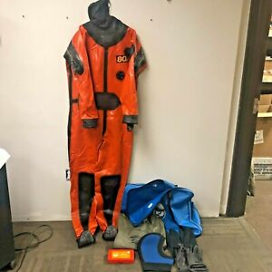 SIZE 2 LARGE VIKING SPORT 80X DRY SUIT WITH EXTRAS REPAIR KIT HOOD GLOVES BAG