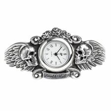 Alchemy Gothic Heart Of Lazarus Winged Skull Death Pewter Bracelet Watch