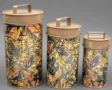 Rustic Metal Camouflage Set of  3 Cannister Set Great for any Cabin Lodge
