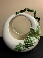 Vintage Hull USA Pottery Ceramic Planter White Green Grapes Circle Shape Johay