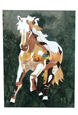 "22""x14"" Green Marble Coffee Table Top Horse Mosaic Inlay Interio Furniture B088"