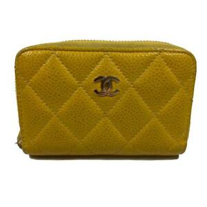 CHANEL CC coin purse wallet Caviar skin leather Yellow Used Coco