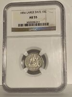 1856 Seated Liberty Dime Large Date NGC AU55