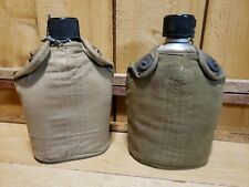 Vintage 1940's World War II WW2 US Military Dismounted Canteen Covers & Canteens