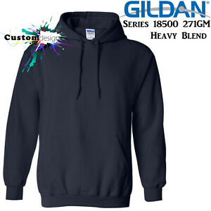 Gildan Navy Blue Hoodie Heavy Blend Basic Hooded Sweat Sweater Mens XS - 5XL