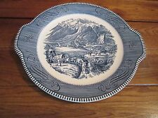 "Vintage Currier And Ives Blue & White Plate with Two Handles 11.5"" Rocky Mountai"