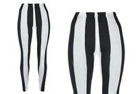 NEW STRETCHY PLUS SIZE BLACK AND WHITE STRIPED WOMENS LEGGINGS SIZE 14-18
