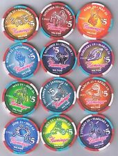 Flamingo Hilton Set Of 12 Zodiac Sign Casino Chips Matching #'s Reno Nevada 1995