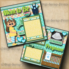 MOM TO BE ~ pregnancy ~  BABY BOY 2 premade scrapbook pages layout ~BY DIGISCRAP