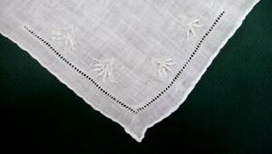 antique WEDDING WHITEEMBROIDERED WEDDING HANKIE cut out,flower top vine