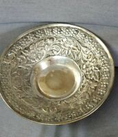 "Vintage etched brass/Silver flower pedestal bowl made in India Approx 12"" x 6"""