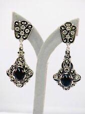 Biedermeier Paar Silber Ohrgehänge mit Onyx + Markasit um 1820