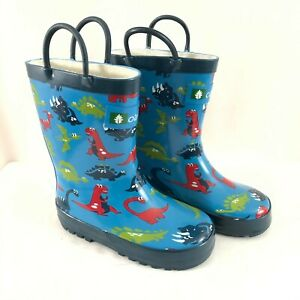 Oaki Toddler Boys Rain Boots Rubber Slip On Dinosaurs Blue Size 9