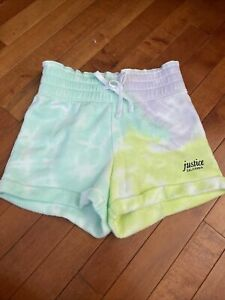 Justice Girls Tie Dye Terry Midi Shorts High Elastic Waist Size 8- Nwt