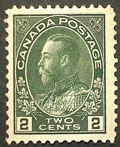 Canada Scott #107 King George V Admiral Issue 2c Green Mint VLH