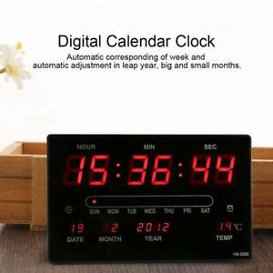 Digital Large Wall Clock LED Display Desk Alarm Temperature Calendar Date Home