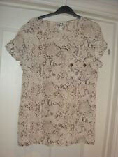 Reiss 1971 short slv printed Tunic Top  100% Silk Size Uk 14