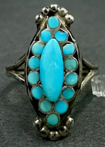 Vintage ZUNI Dishta Sterling Silver Turquoise Inlay Ring
