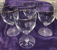 """4 Vintage Clear Gold Trim Wine/water Glasses 5 1/2"""" Tall With Stem Unknown maker"""