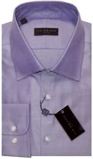 NEW 2018 IKE BEHAR PURPLE DIAGONAL TWILL CLASSIC FIT DRESS SHIRT 17.5 34/35