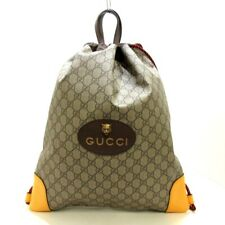 Auth GUCCI GG Supreme Canvas Drawstring Bag Backpack 473872 Beige PVC Backpack