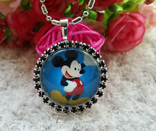 Disney mickey mouse princess crystal Chain Pendant Necklace Kid baby Girl