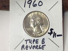 1960 Silver Quarter, Type B Reverse variety