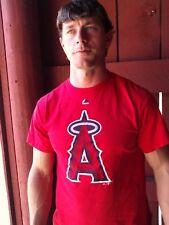 Baseball CALIFORNIA ANGELES Logo Red Majestic 100% Cotton Size L T-Shirt