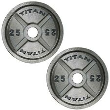 25 LB Pair Cast Iron Olympic Weight Plates - Black - Set of 2 50 lb Total - NEW