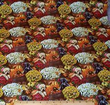 Dogs Autumn Flowers Fat Quarter Fabric 100% Cotton Puppy Mums Quilt Sew