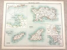 1890 Antique Map of The Channel Islands Jersey Guernsey 19th Century Original
