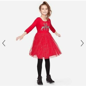 Nwt Justice Girl's Red Sparkly Sequin Reindeer Holiday Picture dress sz 8