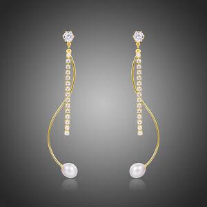 Cubic Zircon Earrings 18k Yellow Gold Plated Pearl Long Drop Dangle Earrings