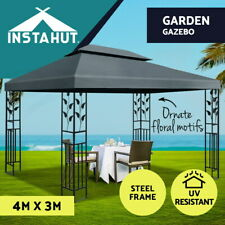 Instahut Gazebo 4x3 Party Marquee Outdoor Wedding Event Tent Iron Art Canopy