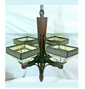 Oil Rub Bronze Craftsman mission 4 Light Chandelier Hanging Metal stained glass