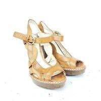 Coach Tamara Brown Leather Platform Heels Size 5.5 Strappy Open Toe