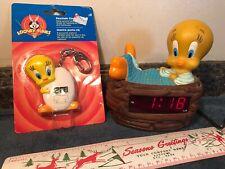 VTG Warner Bros. Looney Tunes Tweety Bird Keychain Clock 1999 W/1998 Alarm Clock