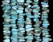 LARIMAR GEMSTONE GRADE A BLUE PEBBLE CHIPS SLICE 16X8MM-8X5MM LOOSE BEADS 15.5""