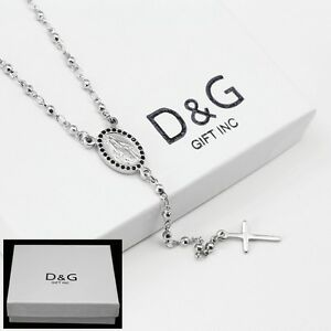 """DG 18"""" Stainless Steel~Beaded Rosary VIRGIN MARY With JESUS CROSS.Necklace + BOX"""