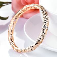 Yellow Gold Filled Attractive Sapphire Crystal Womens Fashion Bangle Bracelets