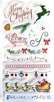 Christmas Borders & Sayings Clear Acrylic Stamp Set 605741 NEW! w/ Santa & Deer