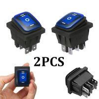 2PCS 6 Pin 3 Position Car Boat On-Off-On Rocker Switch DPDT 16A 250V AC Blue LED