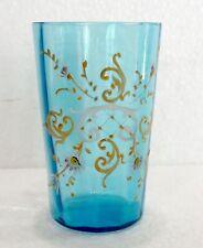 Joli VERRE bleu ancien émaillé de fleurs blanc et or (LEGRAS ?)