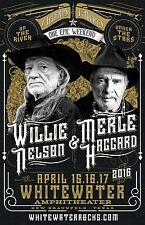 "WILLIE NELSON & MERLE HAGGARD 2016 ""WHITEWATER AMPHITHEATER"" CONCERT TOUR POSTER"