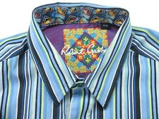 ROBERT GRAHAM men's shirt Multi Color  Blue STRIPED DESIGN size M