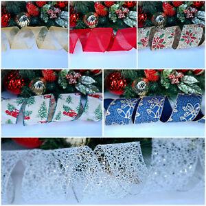 Luxury Christmas Wire Edged Ribbon Decorations Poinsettia Glitter Flower Xmas