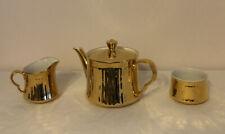 Royal Worcester Porcelain Gold Lustre Fluted Set Tea Pot/milk Jug/sugar Bowl